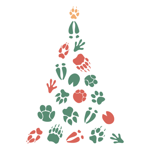 Cute foot prints christmas tree Transparent PNG