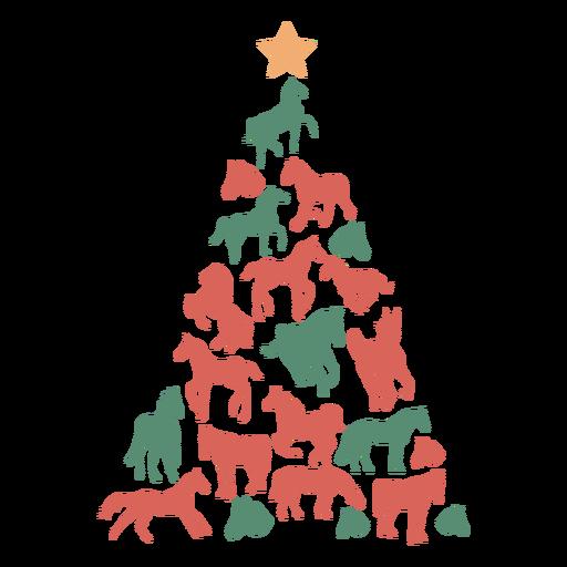 Cute horses christmas tree Transparent PNG
