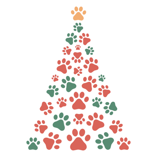 Cute paws christmas tree Transparent PNG