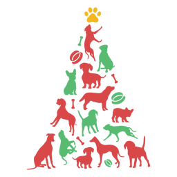 Cute puppy breeds christmas tree
