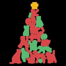 Lindo cachorro cría árbol de navidad