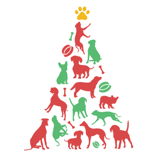 Cute puppy breeds christmas tree Transparent PNG