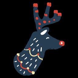 Vista lateral da cabeça de rena fofa