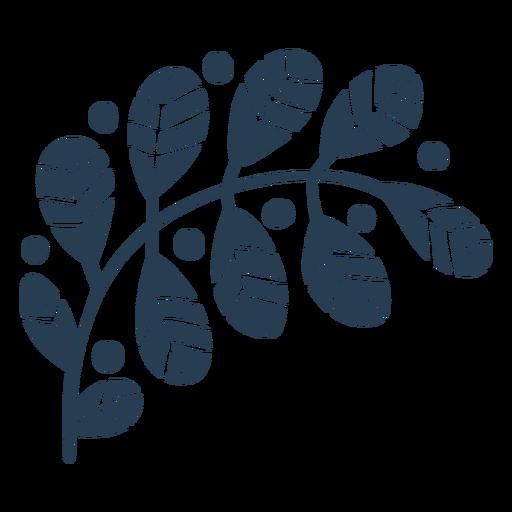 Cute scandinavian leaves blue Transparent PNG