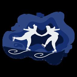 Duo ice skating papercut