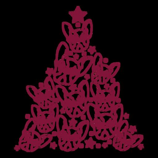 Árvore de Natal de buldogues franceses Transparent PNG