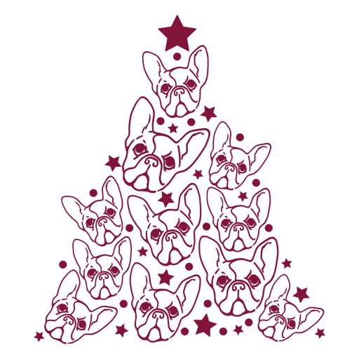 French bulldogs christmas tree Transparent PNG