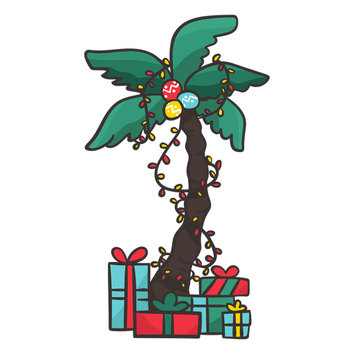 Palm tree with gifts Transparent PNG