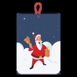 Santa con campana etiqueta de navidad
