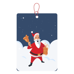 Santa with bell christmas tag
