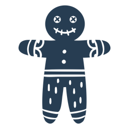 Scandinavian creepy gingerbread man blue