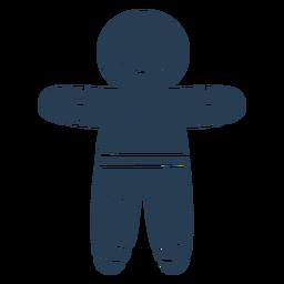 Scandinavian creepy gingerbread man blue
