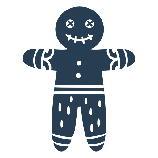 Scandinavian creepy gingerbread man blue Transparent PNG
