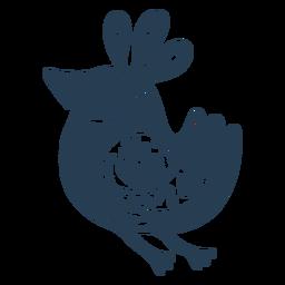 Scandinavian cute bird blue