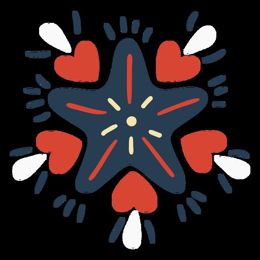 Scandinavian star with hearts