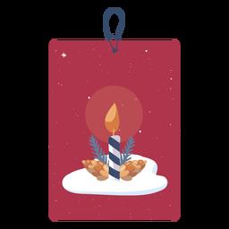 Etiqueta de Natal de vela simples
