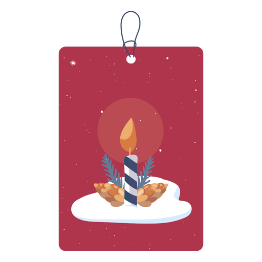 Simple candle christmas tag Transparent PNG