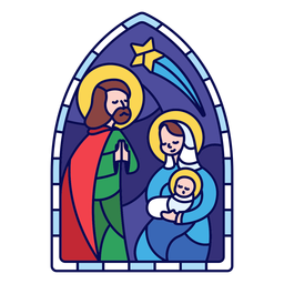 Stained glass holy family christmas flat