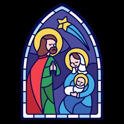 Vidrieras sagrada familia navidad plana