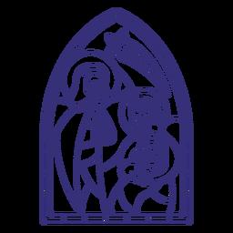 Weihnachtsstrich der heiligen Familie der Glasmalerei