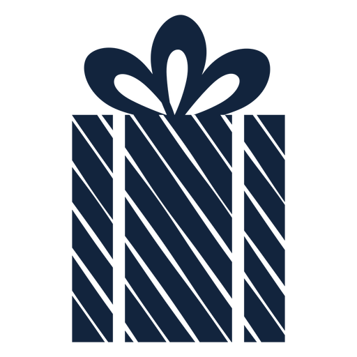 Striped gift box blue Transparent PNG