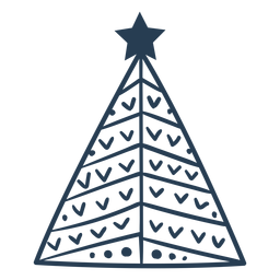 Stroke cute scandinavian christmas tree