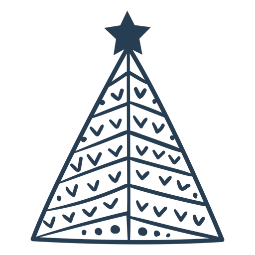 Stroke cute scandinavian christmas tree Transparent PNG
