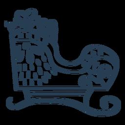 Vista lateral de trazo trineo de santa