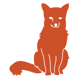 Tear on eye sitting fox silhouette