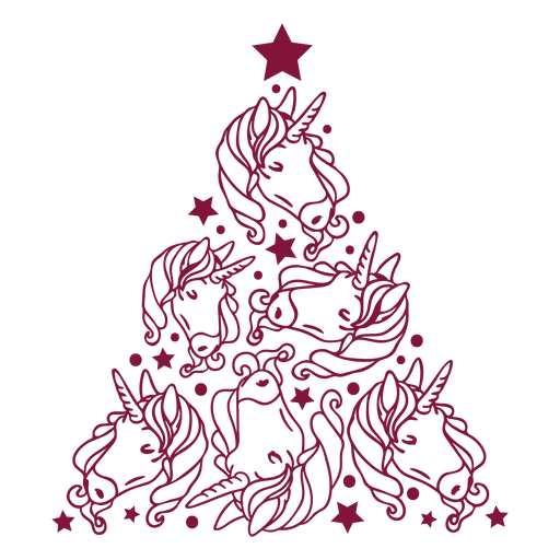 Unicorns christmas tree Transparent PNG