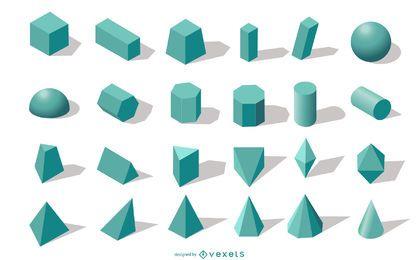 Coleção de formas geométricas 3D