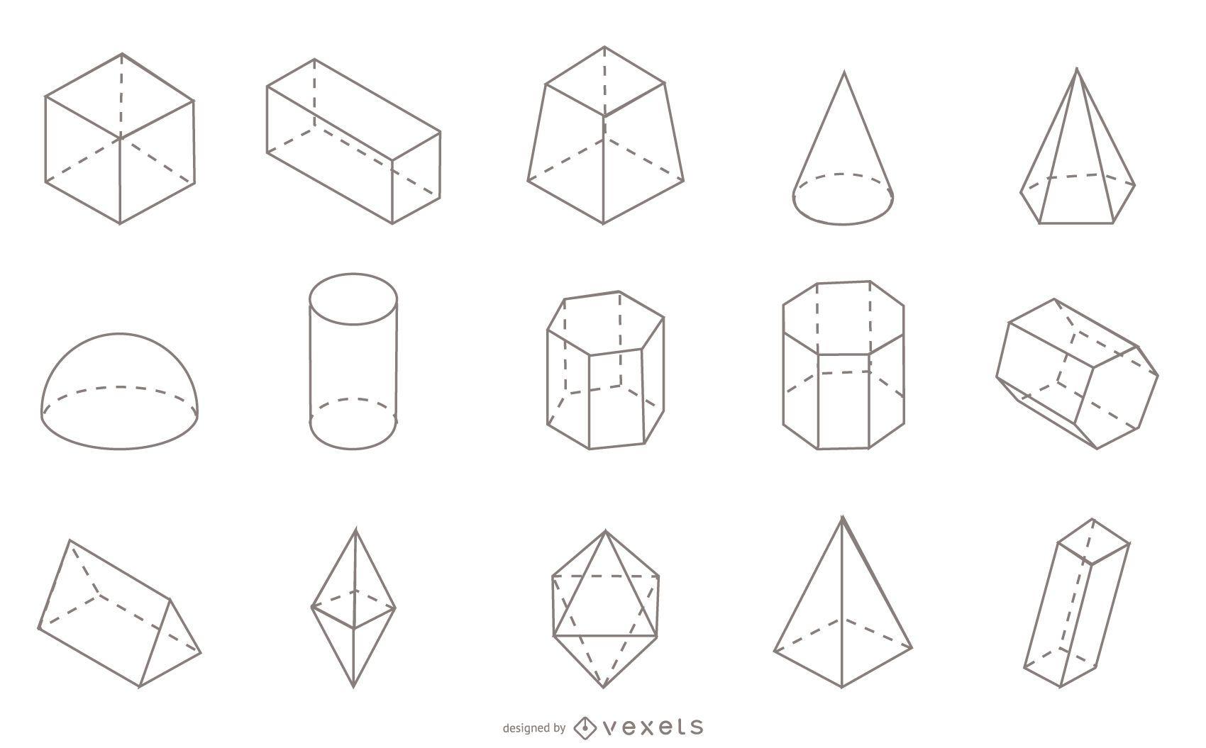 Colección de trazos de formas geométricas