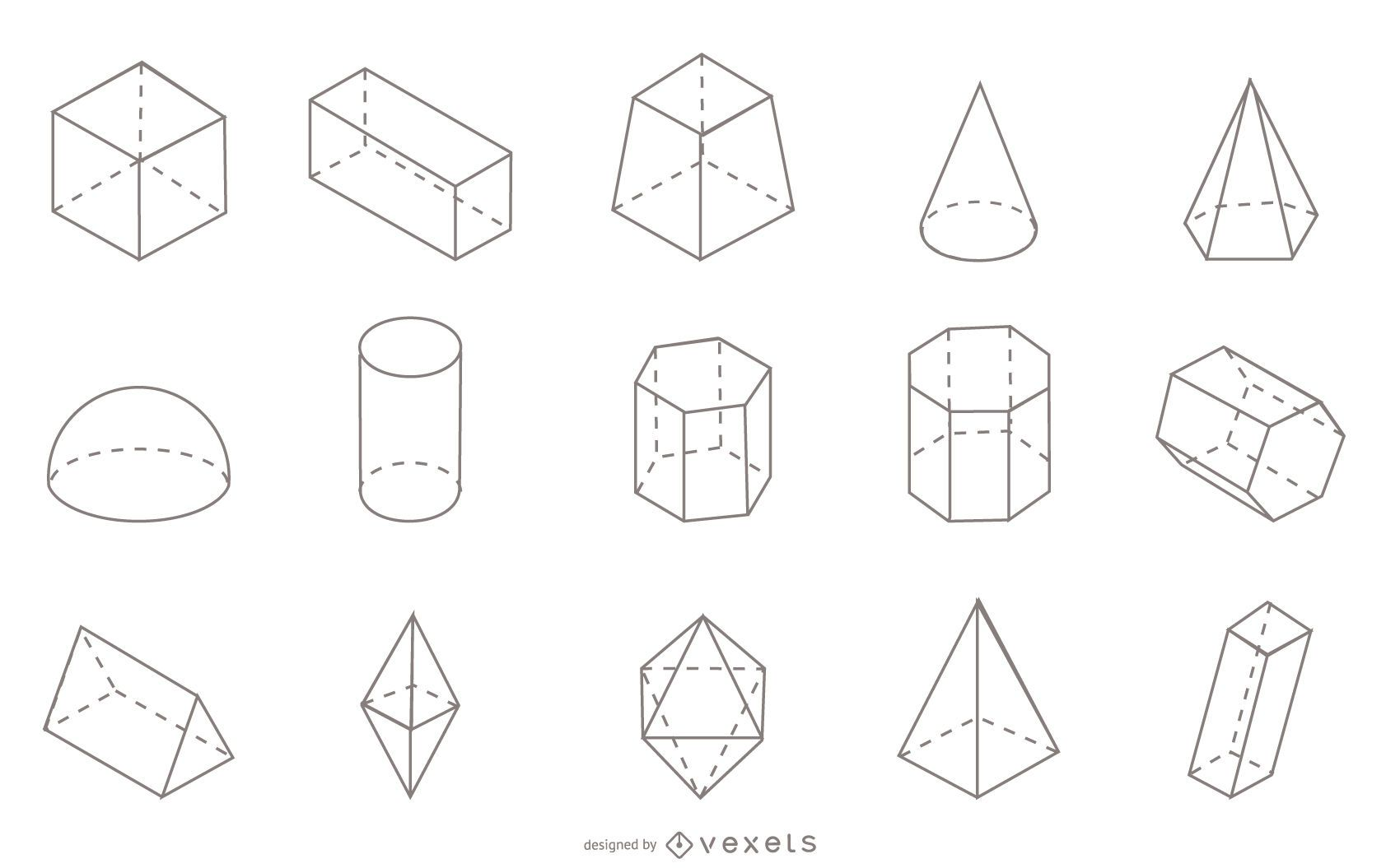 Geometric shapes stroke collection