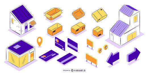 Conjunto isométrico de elementos de entrega