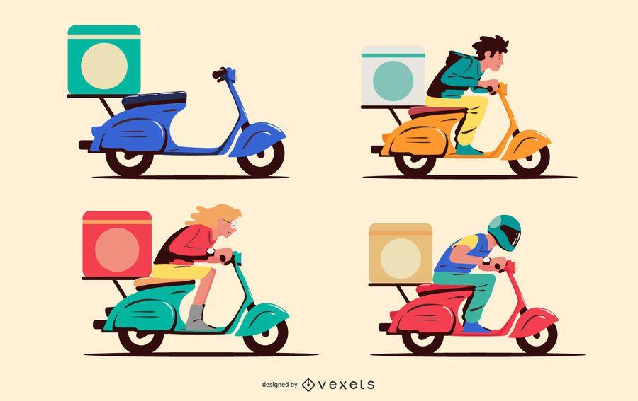 Conjunto de caracteres de motocicleta de entrega