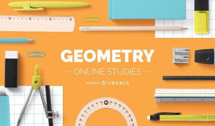 Diseño de portada de estudios online de geometría
