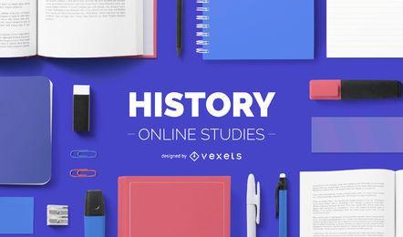 Diseño de portada de estudios de historia online