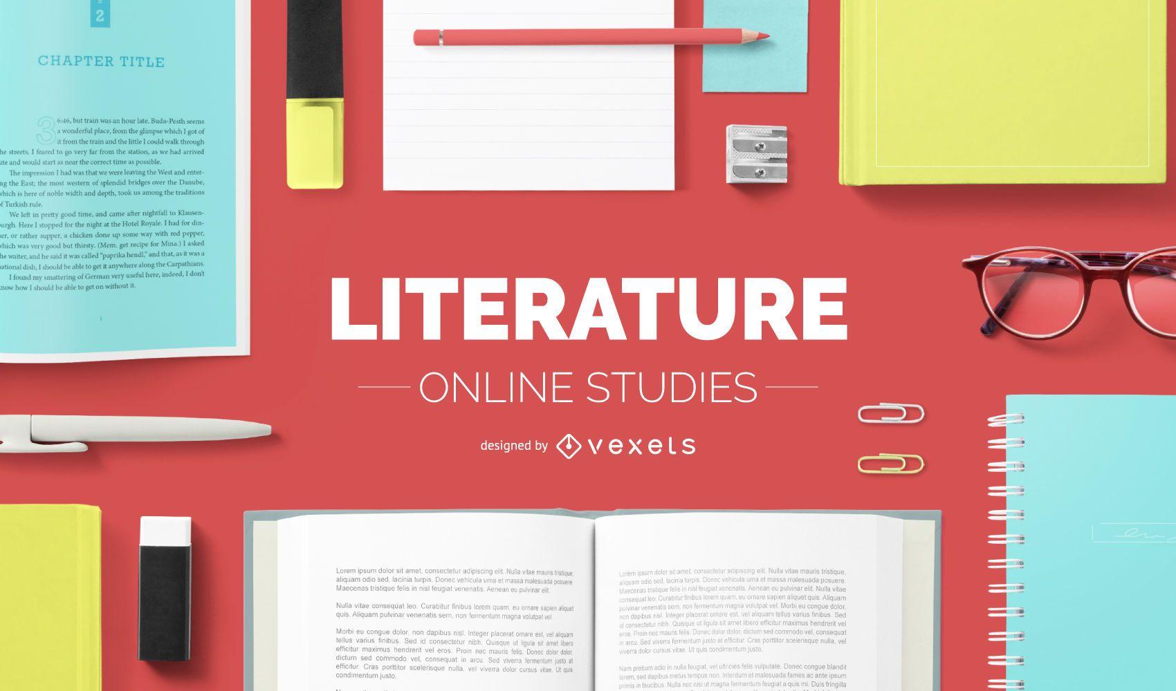 Diseño de portada de estudios de literatura online