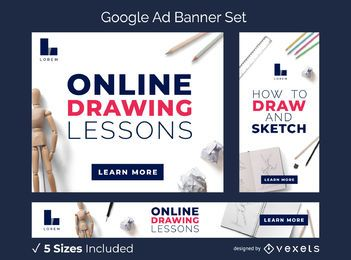 Conjunto de banner de anúncio de aulas de desenho on-line