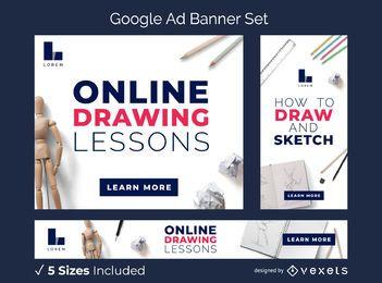 Online-Zeichenunterricht Ad-Banner-Set