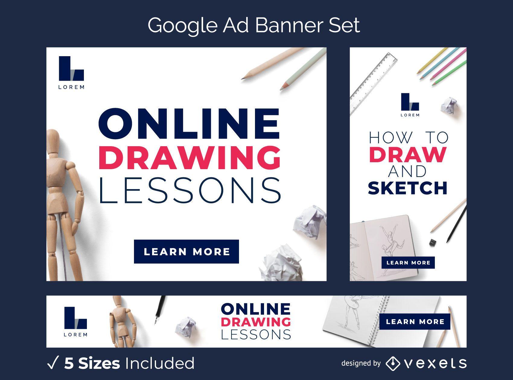 Conjunto de banners publicitarios de lecciones de dibujo en línea