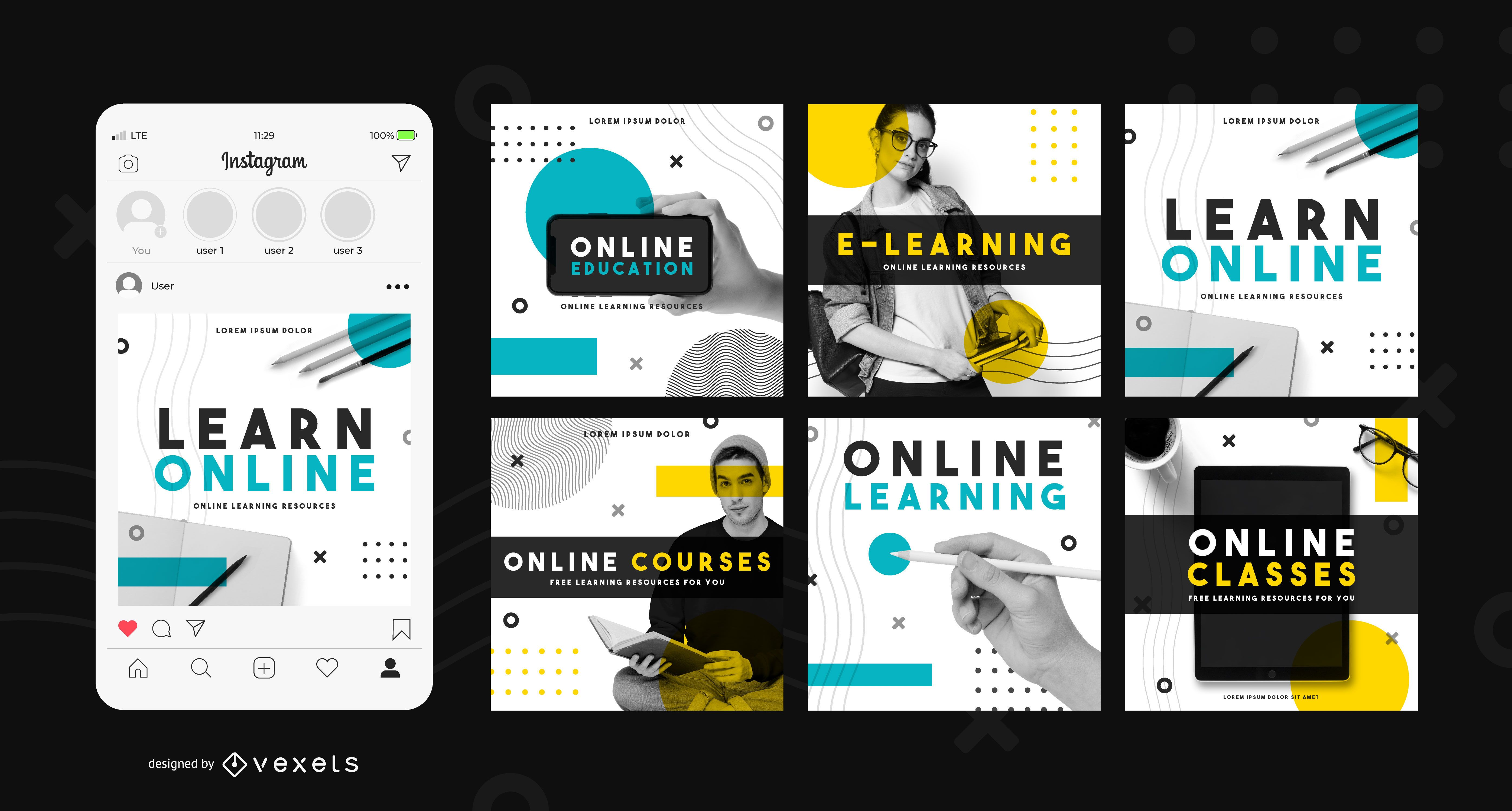 Learn online social media post template
