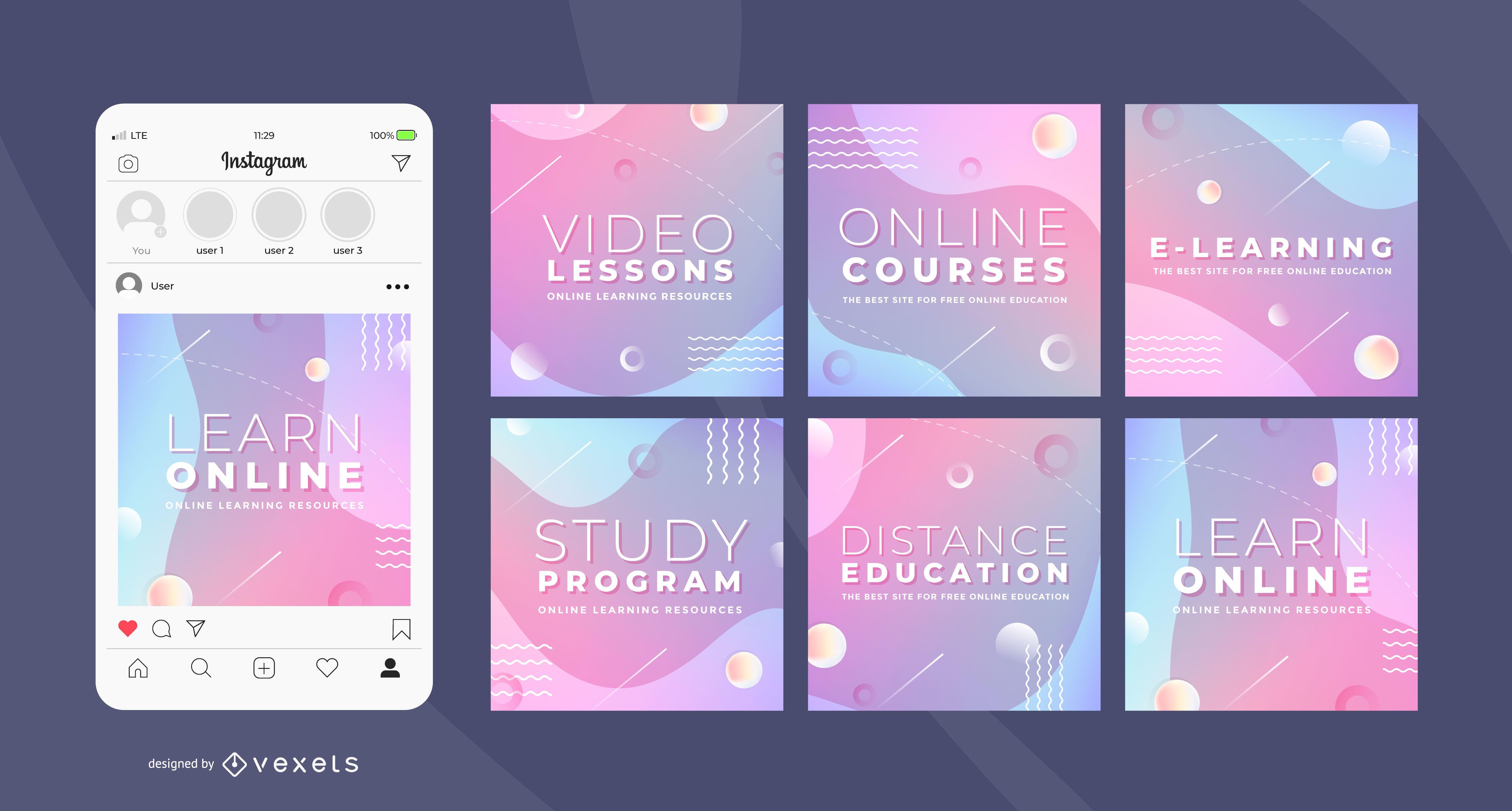 Modelos de mídias sociais de cursos online