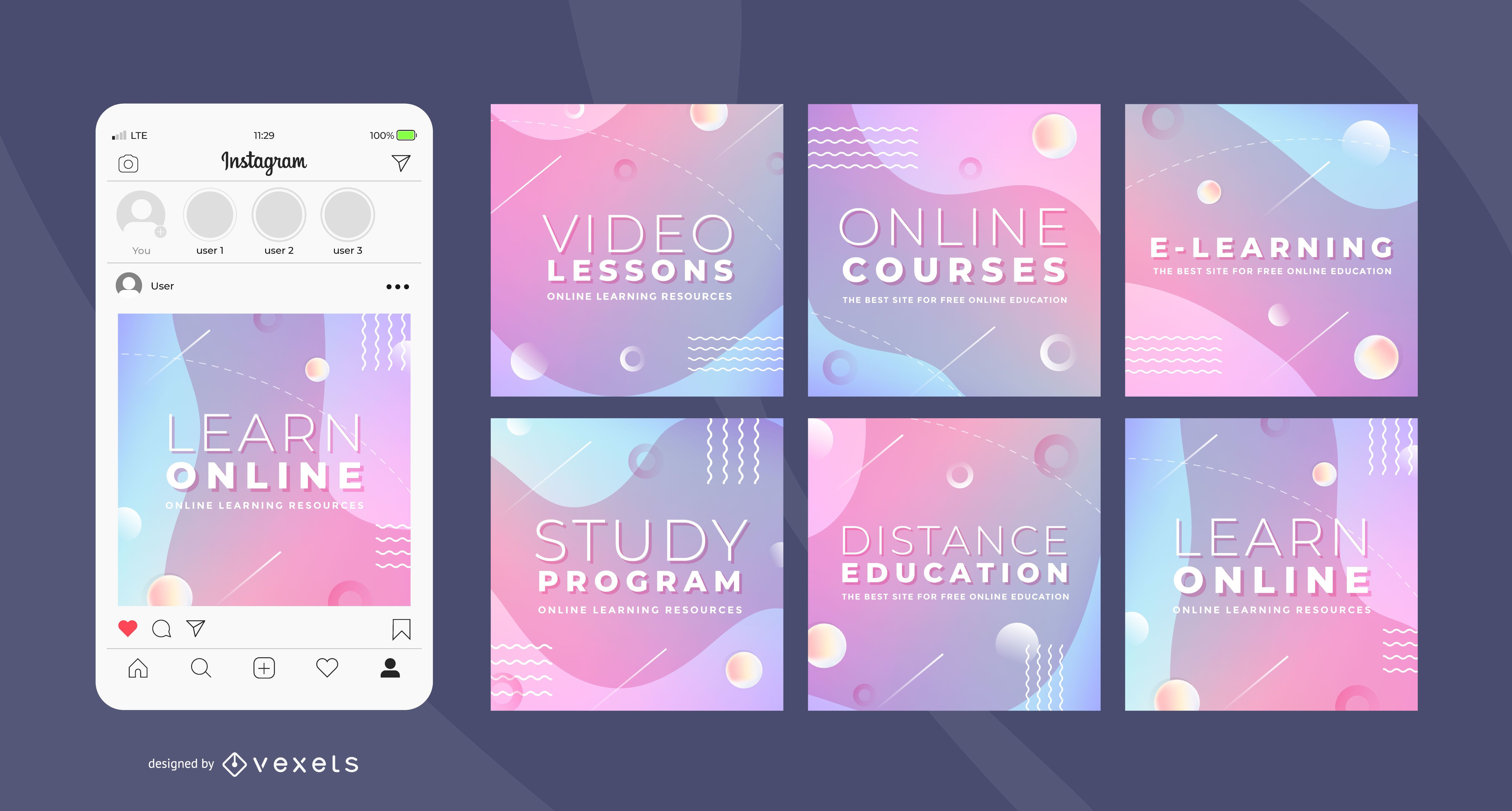 Online courses social media templates
