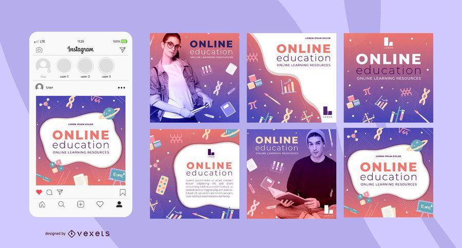 Online education social media templates