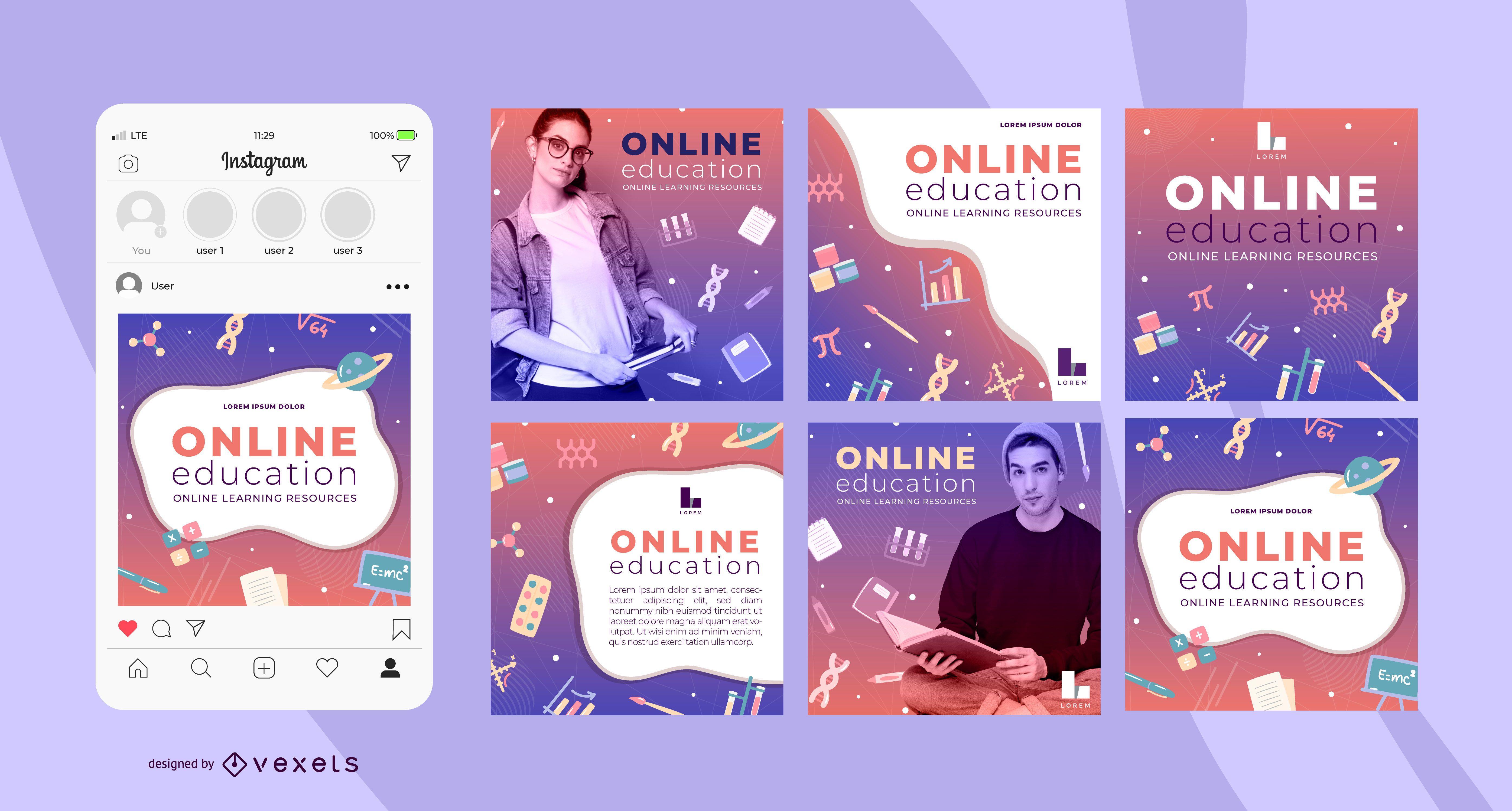 Online-Bildung Social-Media-Vorlagen