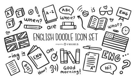 Englisch Doodle Icon Set