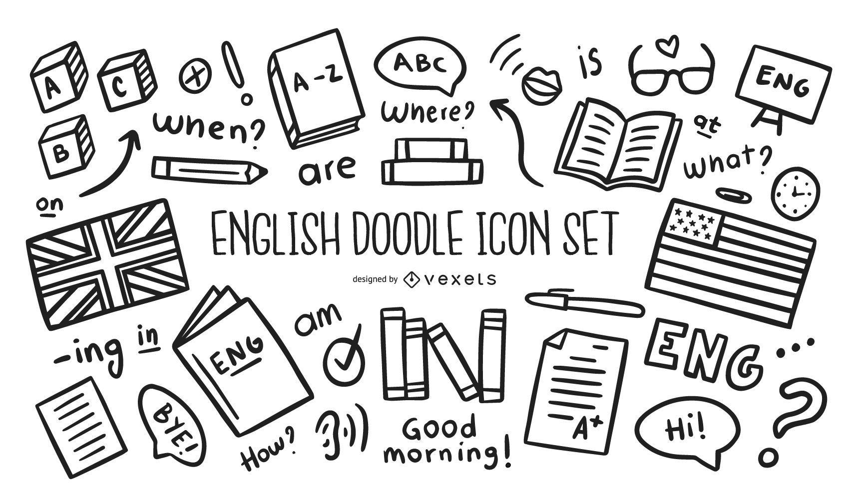 Conjunto de iconos de doodle inglés