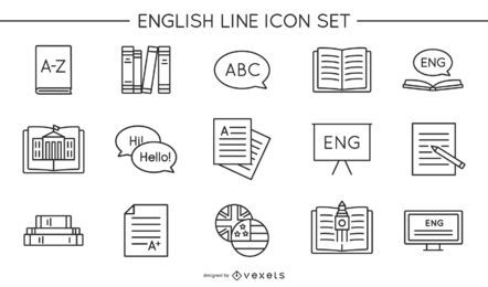 Conjunto de iconos de línea inglesa