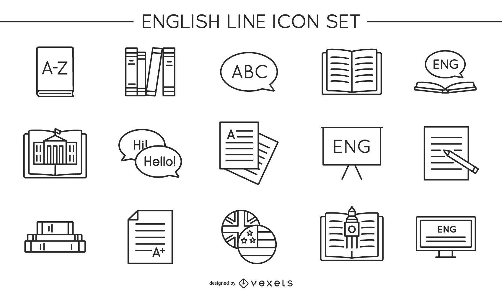 English line icon set